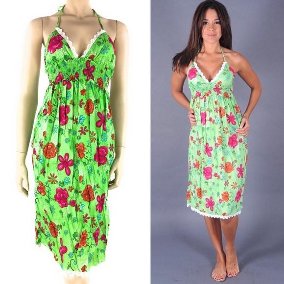 b048905546e7 New Womens Halter Midi Dress Green Floral XS-S